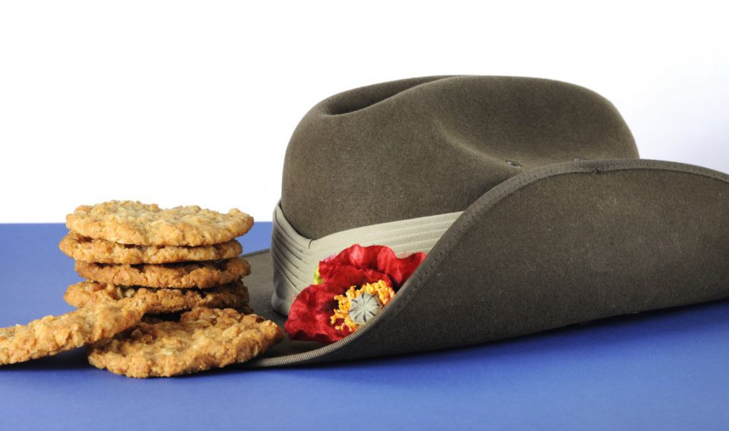 anzac day hat and biscuits