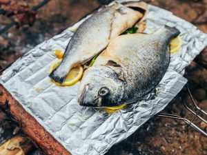 Cooking fish on a camp BBQ